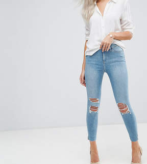 Asos RIDLEY High Waist Skinny Jeans in Albie Lightwash Blue with Rips and Reverse Stepped Hems