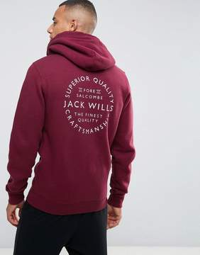 Jack Wills Ederton Zip Up Hoodie With Back Print In Damson