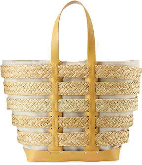 Paco Rabanne Cage East-West Straw Tote Bag