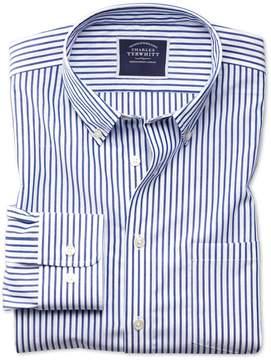 Charles Tyrwhitt Classic Fit Button-Down Non-Iron Poplin Blue Stripe Cotton Casual Shirt Single Cuff Size Large