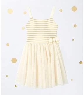 Petit Bateau Girl's dual fabric dress with straps