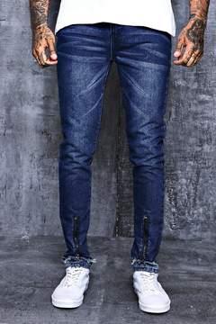 boohoo Skinny Fit Zipped Faux Hem Denim Jeans