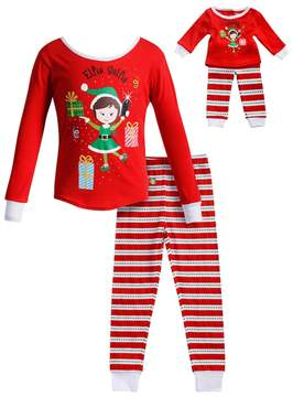 Dollie & Me Girls 4-14 Elfie Selfie Elf Striped Top & Bottoms Pajama Set