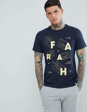 Farah Bart Slim Fit Letter Logo T-Shirt in Navy