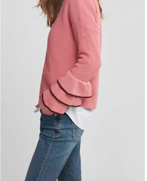 Express layered ruffle sleeve pullover sweater