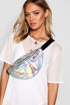 boohoo Oversized Silver Holographic Bumbag