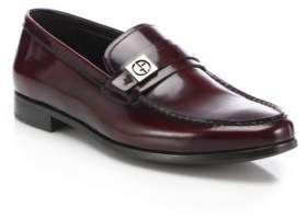 Giorgio Armani Spazzolato Side Bit Leather Loafers