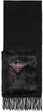 Gucci Crystal bee silk scarf with mink pocket