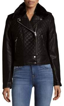 Andrew Marc Galaxy Faux Fur-Trimmed Bomber Jacket