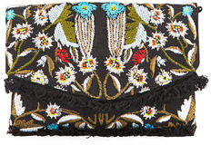 Sam Edelman Cait Embroidered Canvas Clutch Bag