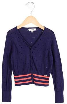 Junior Gaultier Girls' Open Knit-Accented Button-Up Cardigan