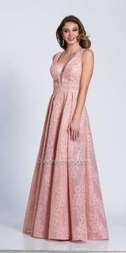 Dave and Johnny Plunging Illusion Pleated Lace Evening Dress