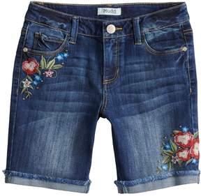 Mudd Girls 7-16 & Plus Size Embroidered Floral Frayed Hem Cuffed Bermuda Shorts