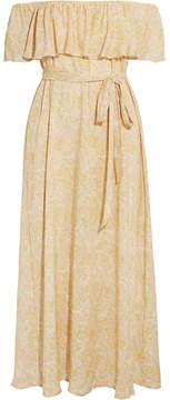 Eberjey Sunrise Paisley Florence Off-the-shoulder Voile Midi Dress - Gold