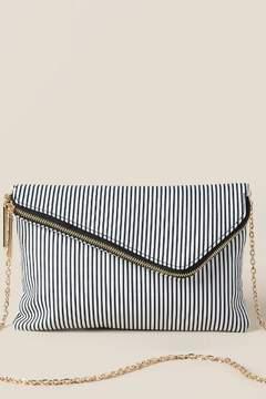 francesca's Lena Striped Clutch Crossbody - White