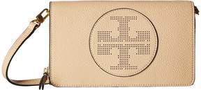 Tory Burch Perforated Logo Flat Wallet Crossbody Cross Body Handbags - SAND DUNE - STYLE