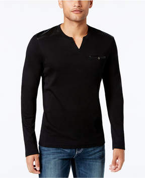 INC International Concepts I.n.c. Men's Collude Split-Neck Shirt, Created for Macy's