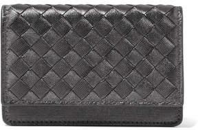 Bottega Veneta Metallic Intrecciato Leather Cardholder - Gunmetal