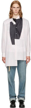 Loewe White and Red Striped Asymmetric Leather Bib Shirt