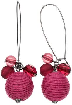 Ball Red Thread Wrapped Beaded Drop Earrings