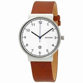 Skagen Ancher White Dial Cognac Leather Men's Watch SKW6433