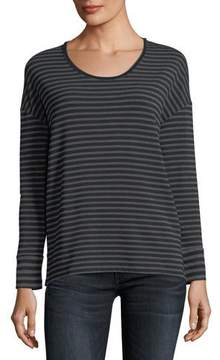 Neiman Marcus Majestic Paris for Soft Touch Long-Sleeve Striped Scoop-Neck Tee