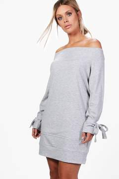 boohoo Plus Emily Off The Shoulder Tie Sleeve Sweat Dress