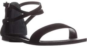 Bar III B35 Vista Flat Ankle Strap Sandals, Black.