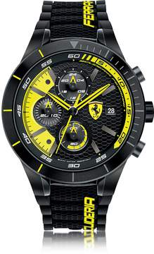 Ferrari Red Rev Evo Black and Yellow Stainless Steel Case and Silicone Strap Men's Chrono Watch