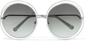 Chloé Carlina Round-frame Silver-tone Sunglasses - Gray