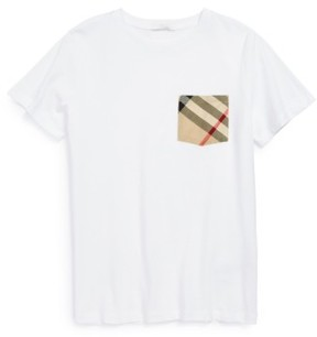 Burberry Boy's Check Print Chest Pocket T-Shirt