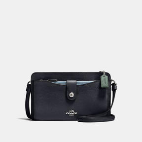 COACH POP-UP MESSENGER IN COLORBLOCK LEATHER - SILVER/NAVY MULTI