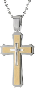 Lynx Two Tone Ion-Plated Stainless Steel Cross Pendant - Men