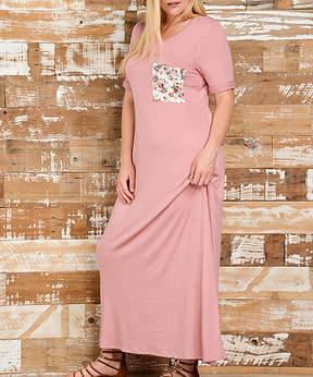 Bellino Mauve & Ivory Floral-Pocket Maxi Dress - Plus