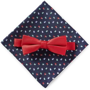 Class Club Christmas Solid Bow Tie & Present-Print Pocket Square