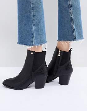 Glamorous Black Snake Heeled Ankle Boots
