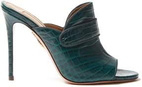 Aquazzura Dylan 115 crocodile-effect leather mules