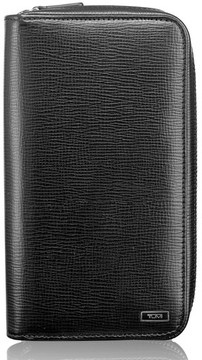 Tumi Men's Zip-Around Leather Travel Wallet - Black