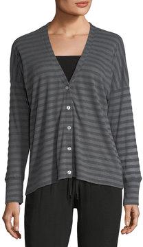 Allen Allen Striped Knit Button-Front Cardigan