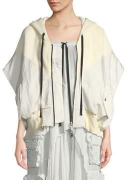 Unravel Short-Sleeve Hybrid Cropped Sweatshirt