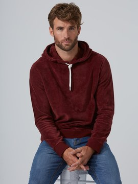 Frank and Oak Washed-Velvet Pullover Hoodie in Andorra