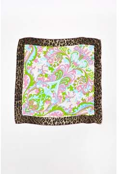 Dolce & Gabbana Pre-owned Purple Blue Brown Silk Abstract Leopard Print Square Scarf.
