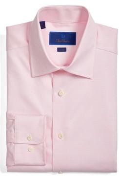 David Donahue Men's Trim Fit Houndstooth Dress Shirt