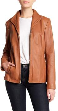 Cole Haan Front Wing Collar Leather Jacket