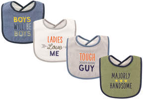 Luvable Friends Blue & Gray 'Majorly Handsome' Bibs - Set of Four