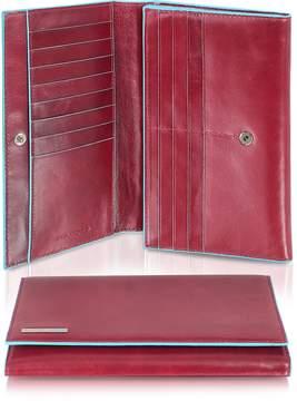 Piquadro Blue Square - Women's Multi-Pocket Flap Leather Wallet