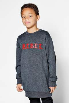boohoo Boys Crew Neck Rebel Longline Sweat
