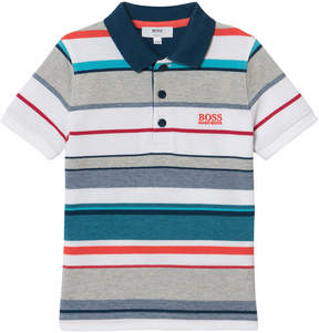 BOSS Multi Stripe Branded Pique Polo