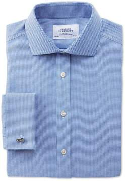 Charles Tyrwhitt Slim Fit Spread Collar Non-Iron Triangle Textured Royal Blue Cotton Dress Shirt French Cuff Size 17.5/34