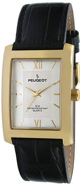 Peugeot Mens Champagne Dial Black Leather Strap Watch